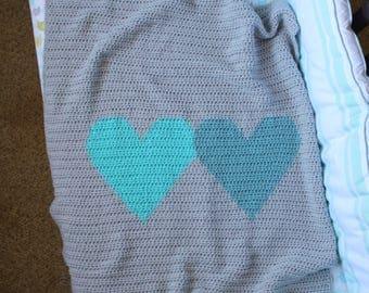 Crochet Baby Blanket, Crochet Heart Blanket, Heart Blanket, Twins Baby Gift