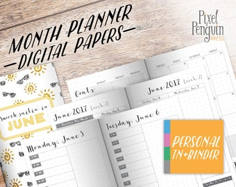 Printable Bullet Journal Weekly, June Planner Pages, Printable Daily Planner, Travelers Notebook Insert Personal Size, WO2P, Midori Refill