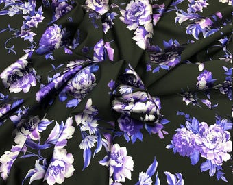 Purple Stretch Floral Scuba Techno Fabric by the Yard