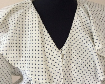80's does 40's polka dot dress with large collar