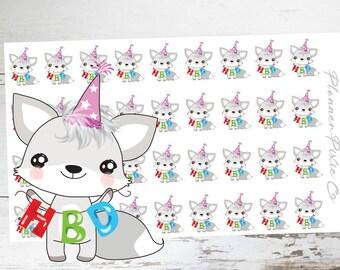 Frankie the Fox // Planner Stickers // Fox Planner Stickers // Birthday