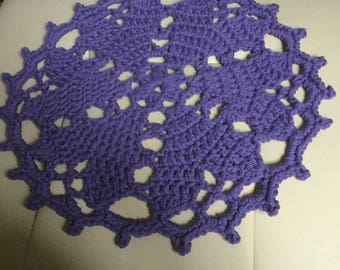 Handmade crochet heart doily