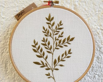Embroidery plant - fern - Hand Embroidery