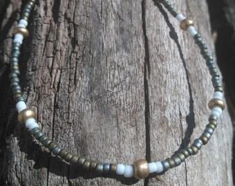Green/white/gold /Seed beaded bracelet/anklet