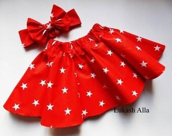 Stars Baby Skirt,  Red Skirt, Baby Girl Skirt, Toddler Skirt, Stars Skirts, Baby Girl Skirt- Stars & Stripes Skirt Set, red and white .
