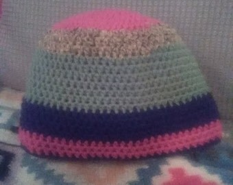 Colorful Striped Crocheted Beanie