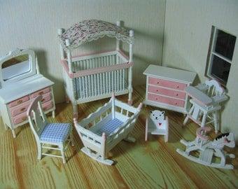 1: 12 Scale dolls house miniature nursery set 8pcs