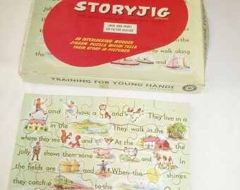 1950's  Children's WOODEN JIGSAW PUZZLE - Boxed & Complete - 35 pieces - Vintage Collectors Item