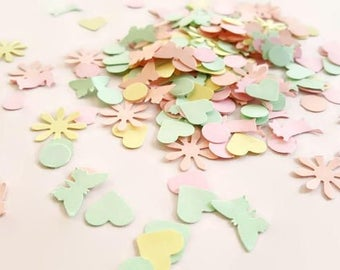 Spring Confetti, Spring Party Decor Rabbits Hearts Bunny, Pastel Party Supplies Birthday Decorations Woodland Confetti Centrepiece Sprinkles