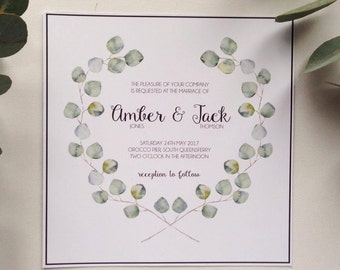 Watercolour eucalyptus leaf themed wedding invitations stationery