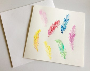 Feathers watercolour card // Unique Watercolour Card // Birthday Card // Anniversary Card // Mother's Day Card // Wedding Card // Easter