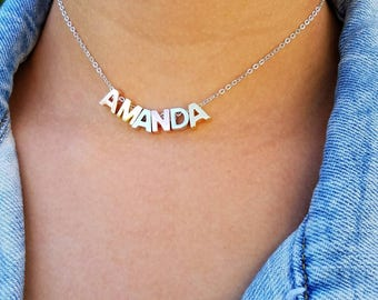 Name Necklace, Custom Letter Necklace, Name Choker, Personalized Choker Initial Choker Custom Choker Capital Letter Choker Necklace