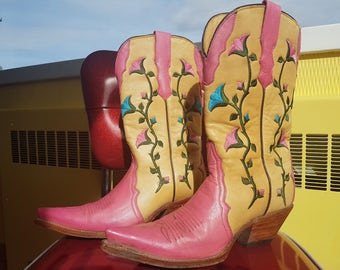 Vintage Rudel Embroidered Cowboy Boots size 5  #RUDEL #CowboyWestern