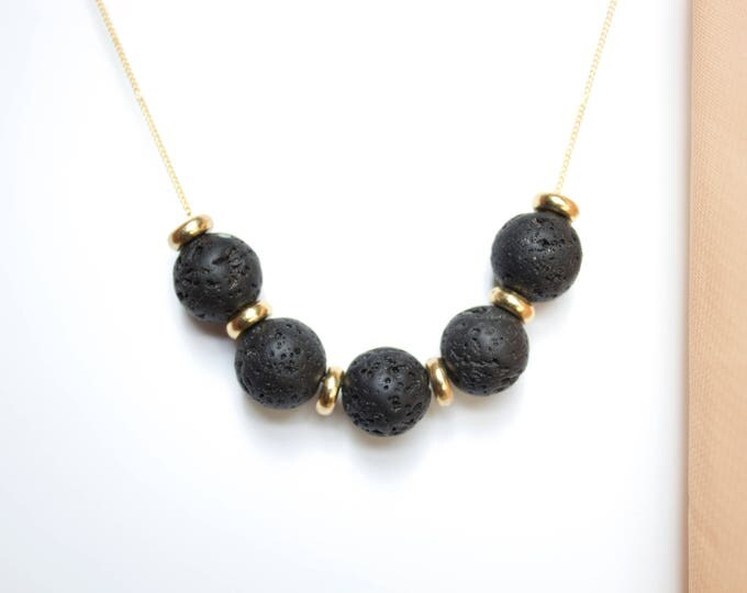 Lava and Brass Necklace