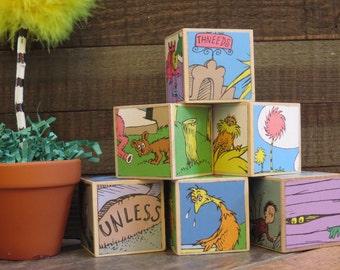 Storybook Blocks / Dr. Seuss / The Lorax / Baby Blocks / Storybook Baby Shower / Baby Shower / Custom Design Blocks / Speak For The Trees