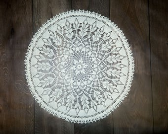 Large white  crochet doily. White Round Doily.   ORGANIC  Cotton Doily. Lace Tablecloth  (70cm, 28inch)