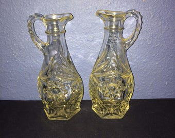 Vintage Pressed Glass Cruets, Set of Two