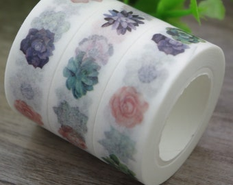 succulent washi tape, succulent stationery, paper tape, bullet journal accessory, planner, planner stickers, garden planner, gardener gift,