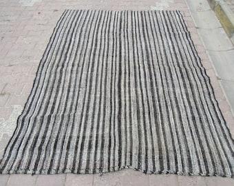 6.1x8 Ft Vintage black and gray striped Turkish kilim rug