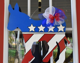 Democrat Donkey Door Hanger, Painted Wood Donkey, Patriotic Door Hanger, Stars and Stripes, Ready to Ship