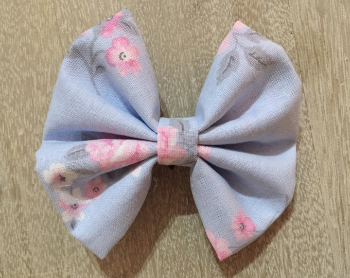 Shabby Chic Pink fabric hair bow or bow tie