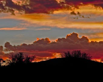 End of Day at White Signal in New Mexico Mountains and Clouds Orange Night Landscape Southwest