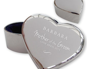 Personalised engraved MOTHER OF the GROOM heart shaped trinket box wedding thank you gift idea  - TRW11