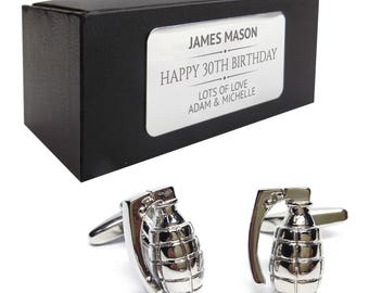 Hand grenade army military CUFFLINKS 30th, 40th, 50th, 60th, 70th birthday gift, presentation box personalised ENGRAVED plate - 139