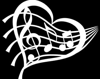Heart Decal Music Decal Music Lovers Decal Window Sticker Car Vinyl Decal