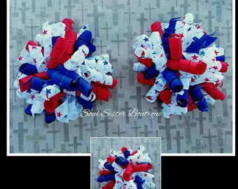 Patriotic 4th of July korker pigtail hair clip set hair bow hairbow red whire and blue independence day