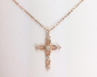 "Necklace / ""cross"" /or 375 / Sapphire miniature white/jewel /."