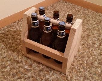 6 Pack Holder/ Cedar Wood Tote
