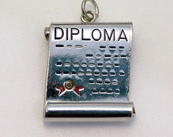 Vintage WELLS Sterling Diploma Scroll Graduation Charm or Pendant 925