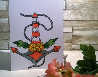 Lighthouse hand drawn card