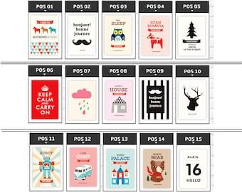 owl print set/Scandinavian wall print/camping illustration/volkswagen print set/Nordic wall/kid print/deer wall robot print set/Scandinavian
