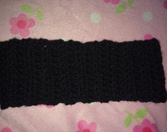 Crochet Black Headband/Earwarmer/Adult size