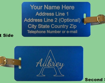 One Large Personalized Custom Laser Engraved Aluminum Metal Luggage, Sports, ID Tag - Personalized On 2 Sides - Free Engraving