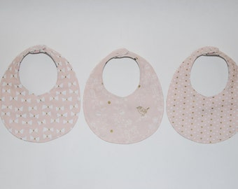 Blush + Metallic Gold Bibs, Girl Bibs, Baby Girl Bibs, Round Bibs, Fancy Bibs, Pretty Bibs, Stylish Bibs, Drool Bibs, Dribble Bibs, Bibs