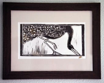 GOING FISHING, Crane Linocut Print