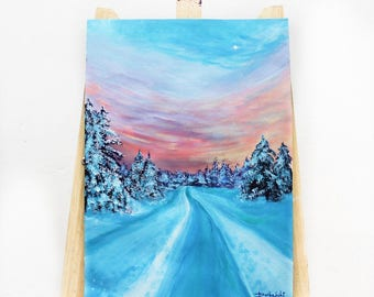Hues of Snow and Sky// Original Acrylic Painting// A3// Fine Art Paper