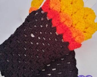 Dragon Scale, Dragonscale Fingerless Gloves, crochet wrist, hand, arm warmers, texting gauntlet, mermaid cuffs, Fire gloves