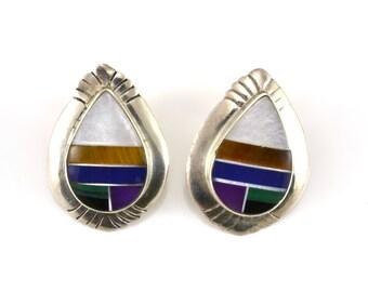 Multi Stone Earrings, Pierced Earrings, Southwestern Earrings, Sterling Earrings, Lapis, MOP, Sugalite, Malachite