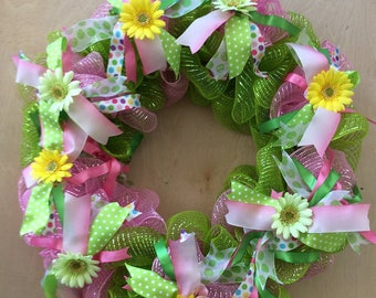 Spring Wreath, Front Door Wreath, Floral Wreath, Easter Wreath, Spring Decor, Mesh Wreath, Mother's Day Wreath, Mother's Day Gift,