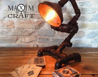 Steampunk lamp industrial rust effect-loft design