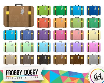 Suitcase Clipart, Travel Clipart, Vacation Clipart, Holiday Clipart, Luggage Clipart, Planner Clipart, Scrapbooking Cliparts