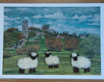 The Nature of the Cotswolds, Felted Wool, Sheep, Rural Scene, Gift, Art Card