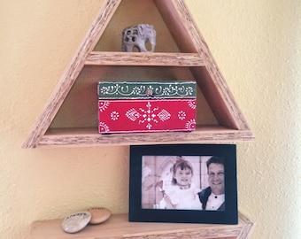 Handmade Triangle Wall Shelf, Geometric Shelf, Triangle Shelf