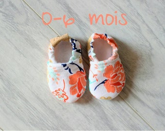 Baby slippers - Baby accessories - Baby shower - Birth gift - Baby girl - Summer shoes - Floral pattern - Multicolor flowers - Baby fashion