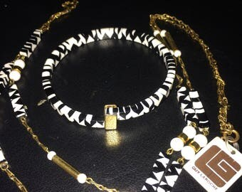 GUY LAROCHE vintage black and white necklace and bracelet set.