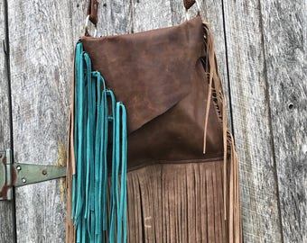 Soft distressed leather handbag with fringe. Turquoise, boho, bag, Soul Sisters, custom! Fast shipping!!